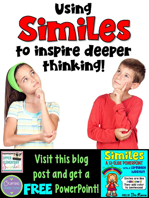 Simile Activities! This blog post features TWO classroom activities for teaching upper elementary students about similes. First, the FREE PowerPoint can be used either to introduce similes to your students, or as a quick review activity to remind students what they have already learned about similes. The second tip explains how you can teach your students to use similes to inspire higher level thinking across all subject areas! The free simile PowerPoint and matching companion handout are available for immediate use!