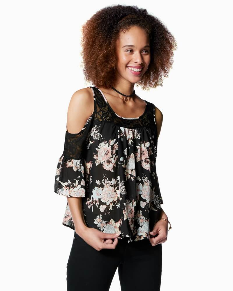 Charming Charlie Flirty Floral Cold Shoulder Top