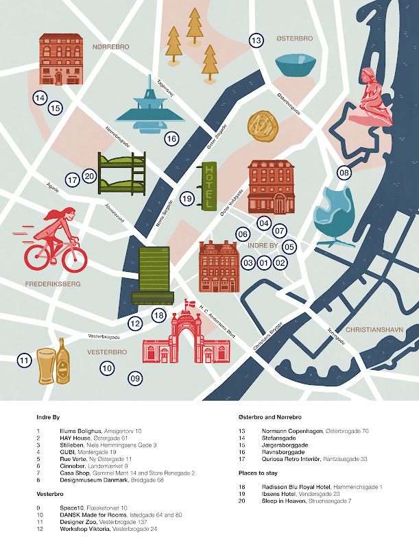 An illustrated map of Copenhagen by Philip Kennedy