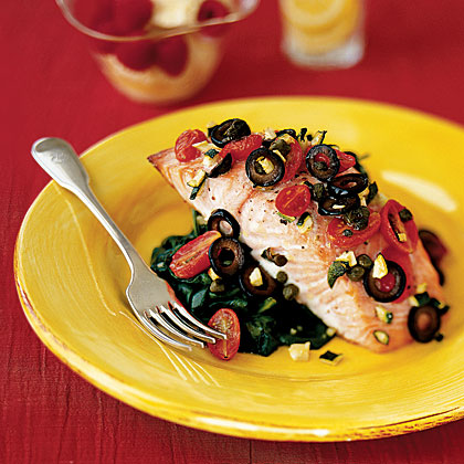 This Mediterranean recipe adds so much flavor to the fish with olives Mediterranean Salmon Recipe