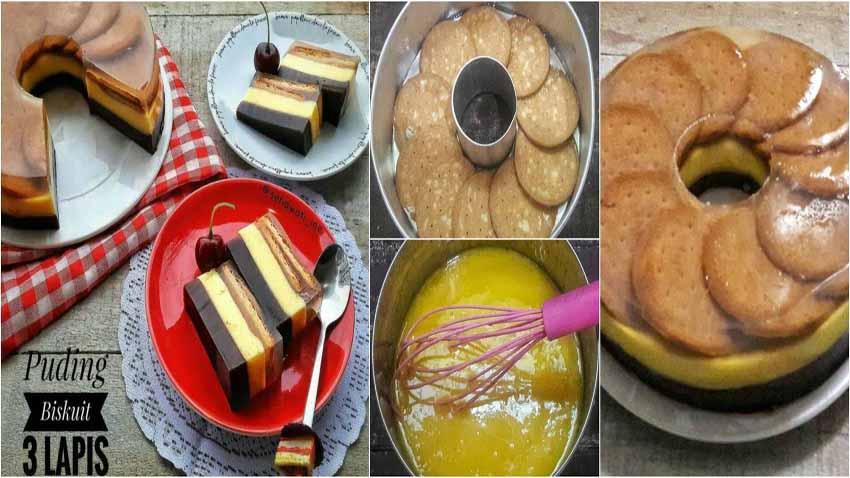 Puding Biskuit 3 Lapis by Ine Setiawati