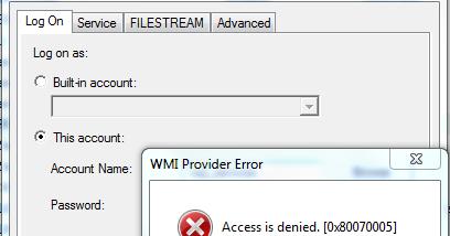 SQL Server - WMI Provider Error (Access is Denied) while