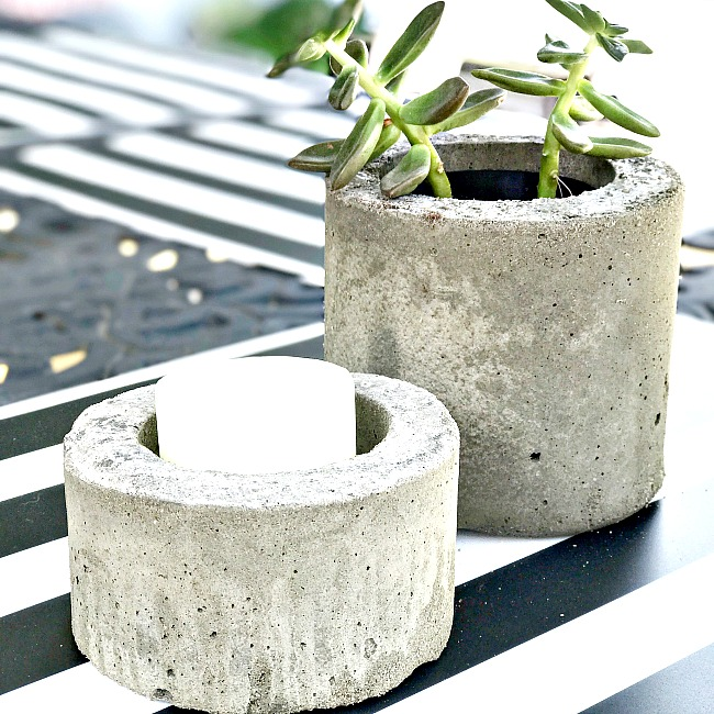 Cement planter and candle holder