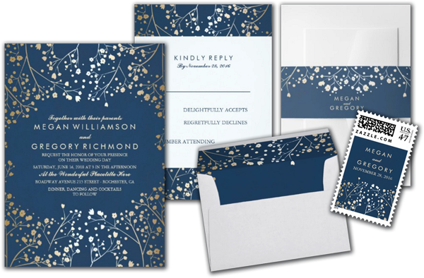 Baby's Breath Gold Foil Navy Wedding Invitations Suite