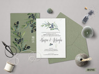 wedding invites with olive leaves