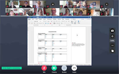 Screenshot from online meeting showing shared document with rows of participants above