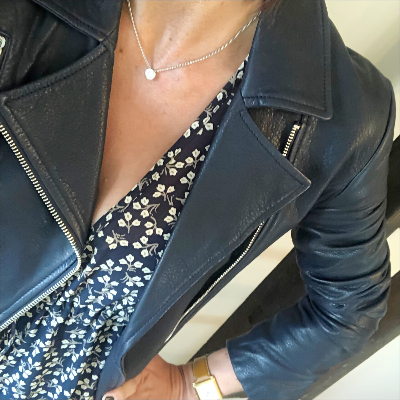 my midlife fashion, massimo dutti navy leather biker jacket, golden goose superstar low top leather trainers, ganni fluted floral print crepe de chine maxi dress
