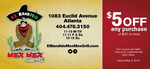 El Bandido Mex Mex Grill | $5 Off Coupon