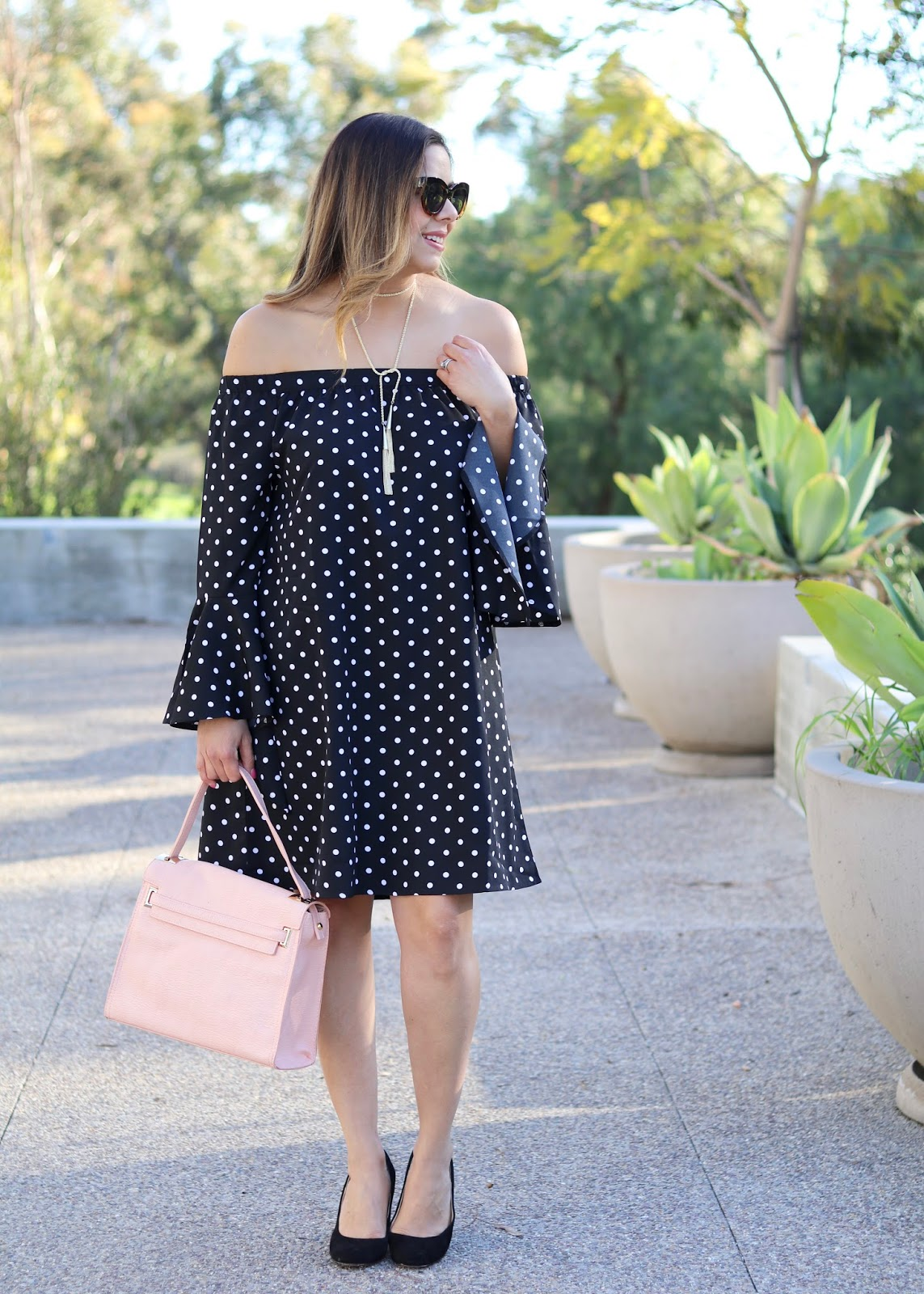 How to wear off the shoulder dress, how to wear a blush purse, how to style a polka dot dress