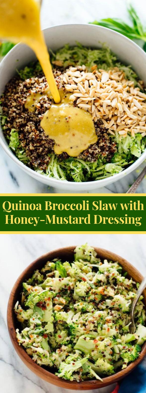 Quinoa Broccoli Slaw with Honey-Mustard Dressing #vegetarian #spring