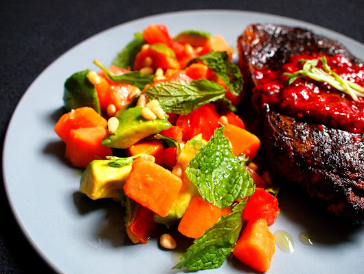 "The Daily Muses: [Recipe] Coffee-Rubbed Porterhouse Steak with ""Yehaa"" Raspberry Sauce and Sweet Potato Salad"