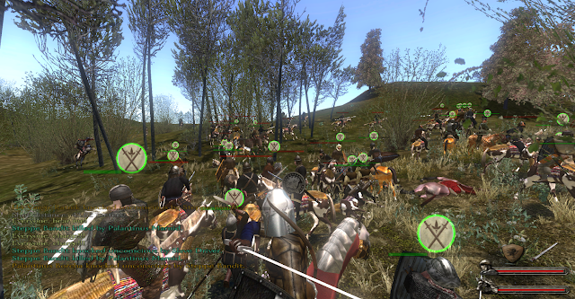 An intense melee brawl in Mount and Blade
