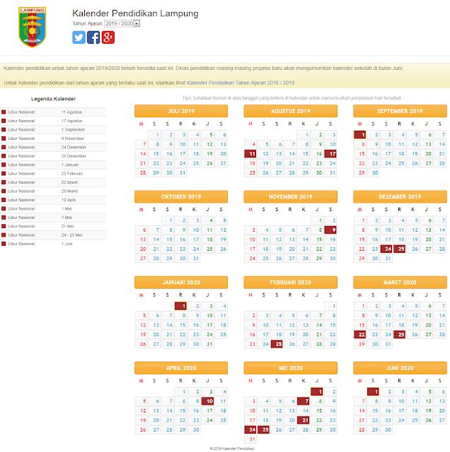 update terbaru kalender pendidikan tahun 2019/2020 untuk wilayah lampung