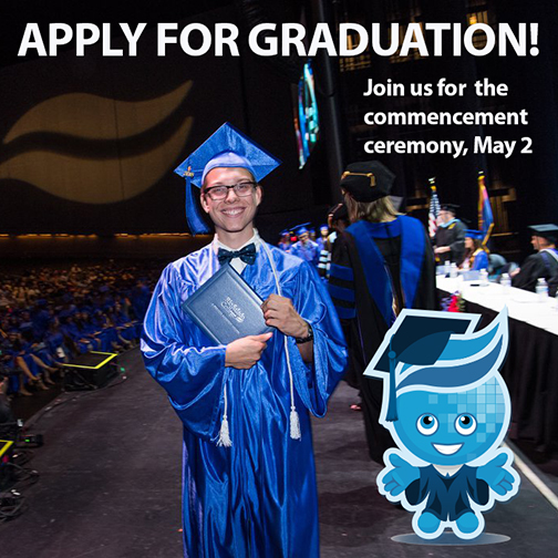 photo of a young man at 2018 graduation stage with illustrated image of mascot Splash also in graduation attire standing next to student