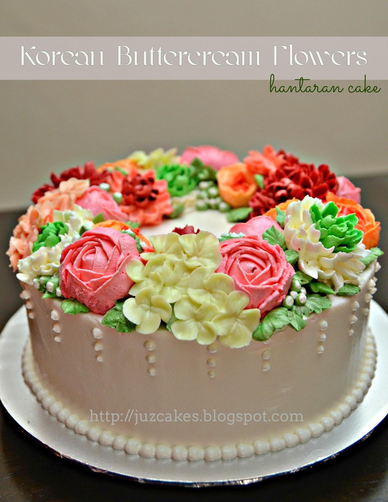 JUZCAKES: Korean Buttercream Flowers - Engagement Cake