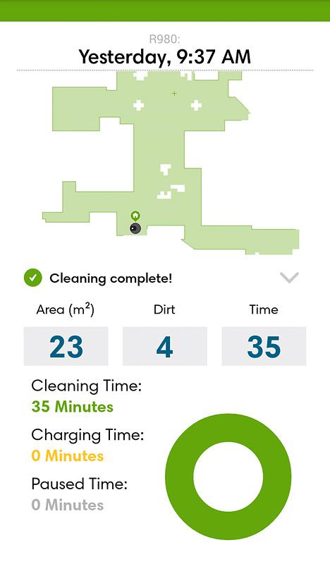 iRobot Roomba 980 podatki čiščenja in zemljevid