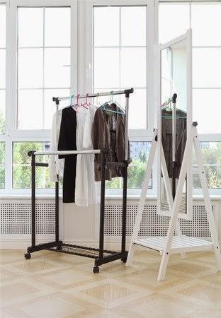 Minimalist clothes on rack