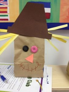 Very cute paper bag scarecrow