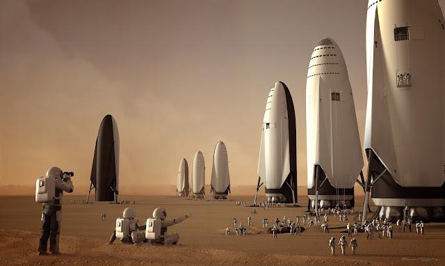 SpaceX spaceship on Mars