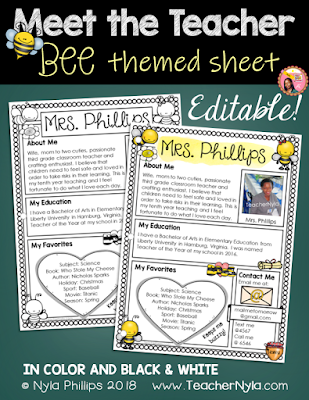 Meet the Teacher Editable Template - Bee Theme