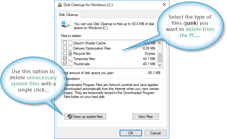 Windows disk cleanup utility dialogue box