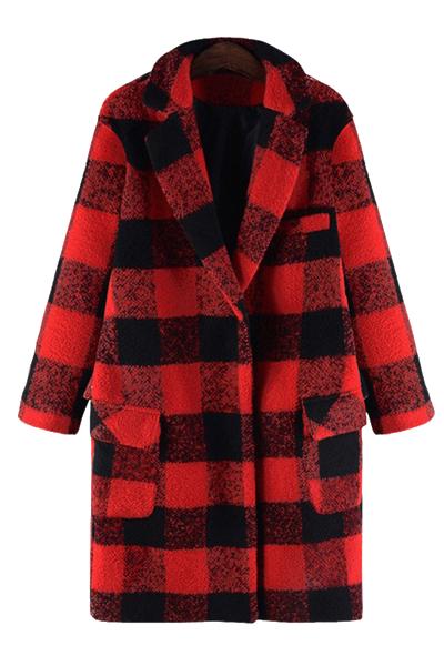 Checked Turn-Down Collar Woolen Coat