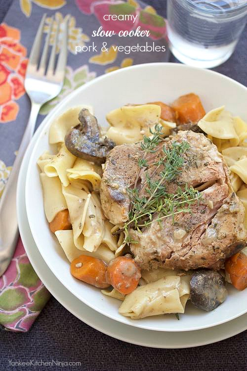 creamy slow cooker pork chops and vegetables recipe