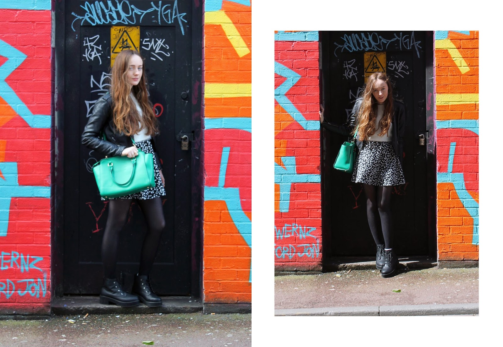 OOTD, outfit of the day, outfit photo against graffiti wall, manchester street art, northern quarter, georgia green winged accessorize handbag