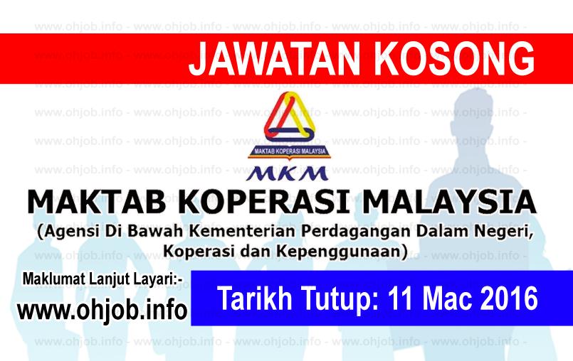 Jawatan Kerja Kosong Maktab Koperasi Malaysia (MKM) logo www.ohjob.info mac 2016