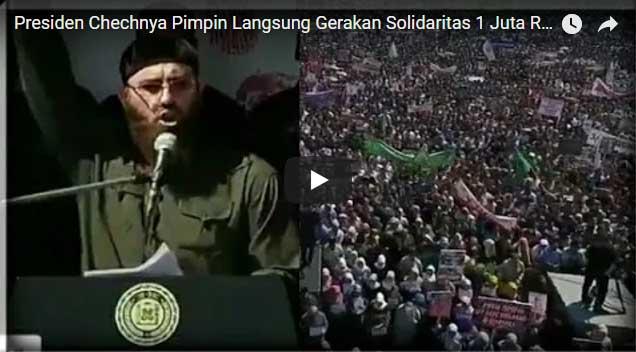 Mengharukan, Presiden Chechnya Pimpin Puluhan Ribu Massa Protes Pembantaian Rohingya