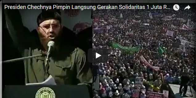 [Vidio] Mengharukan, Presiden Chechnya Pimpin Puluhan Ribu Massa Protes Pembantaian Rohingya