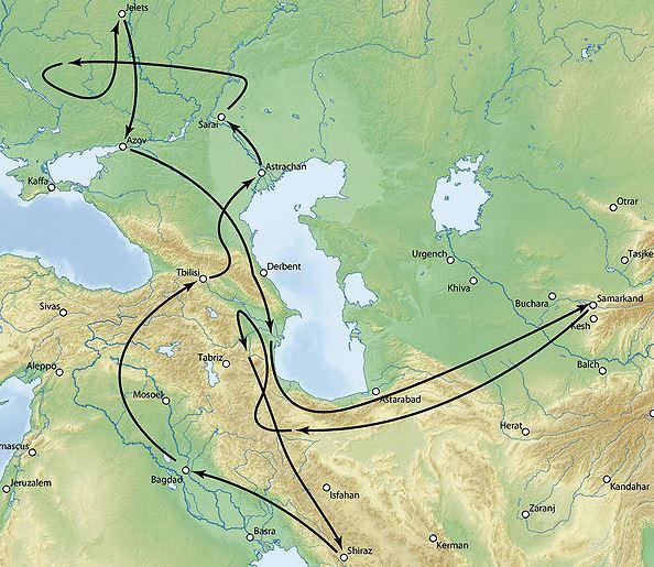 timurid attack map on sarai