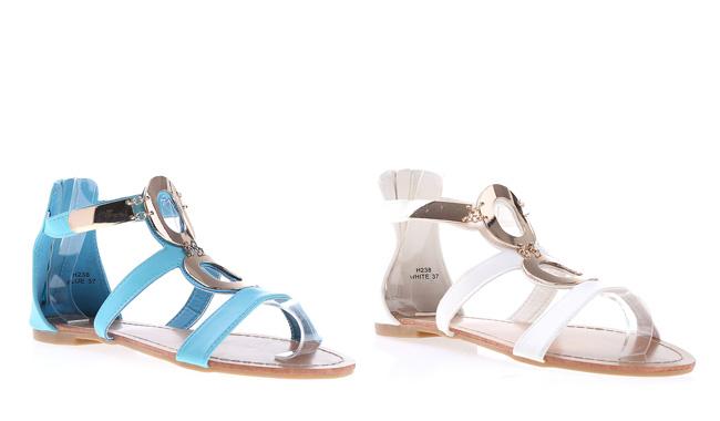 Sandale ieftine lejere de vara albastre, albe cu insertii aurii