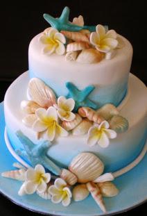 Simple Beach Themed Wedding Cakes