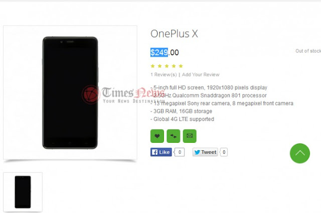 OnePlus X Smartphone Listed with $249 in Oppomart