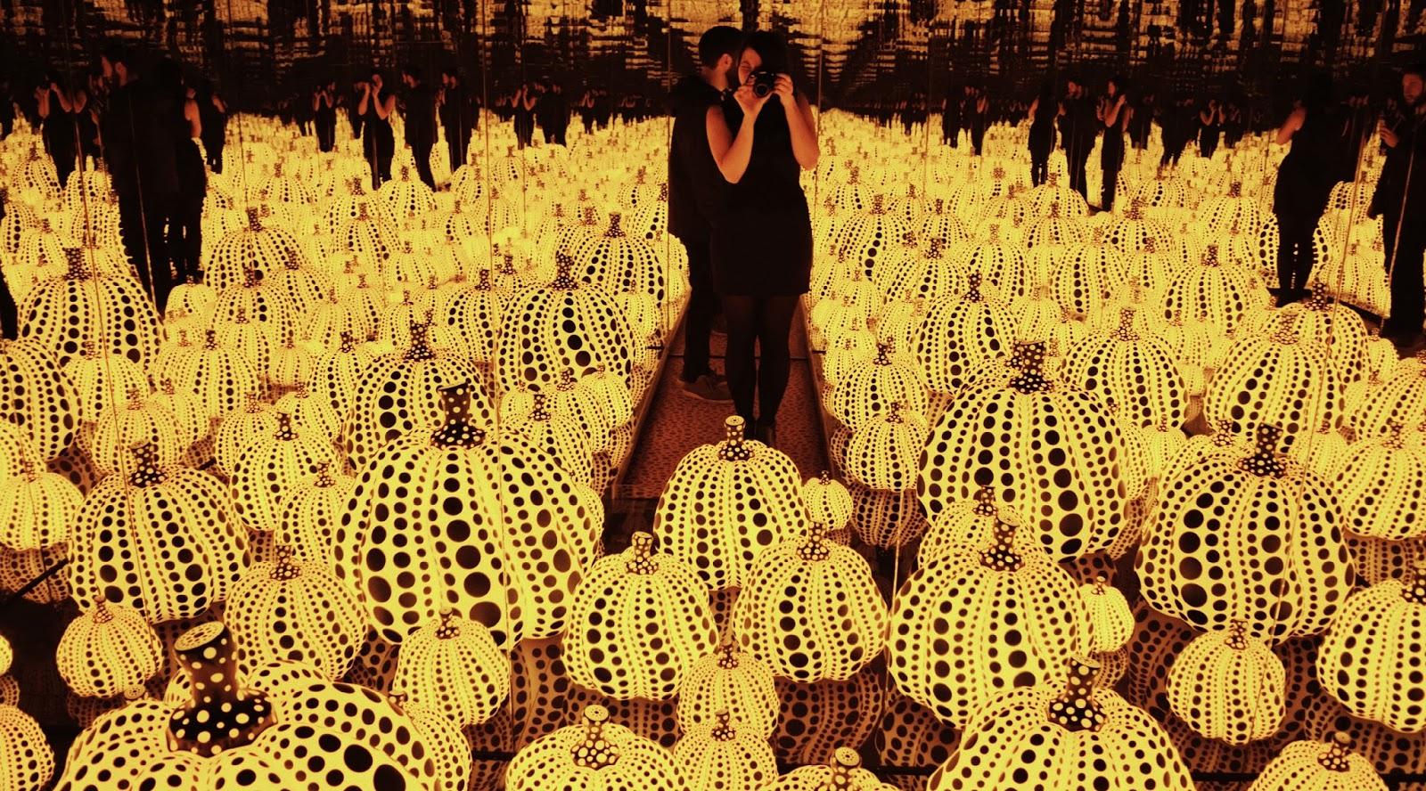 In a field of pumpkins Yayoi Kusama