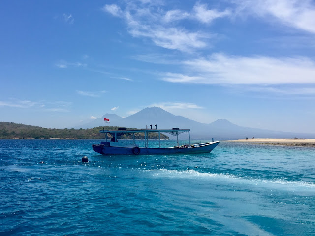 Boat moored for snorkelling trip near Menjangan Island, Bali, Indonesia