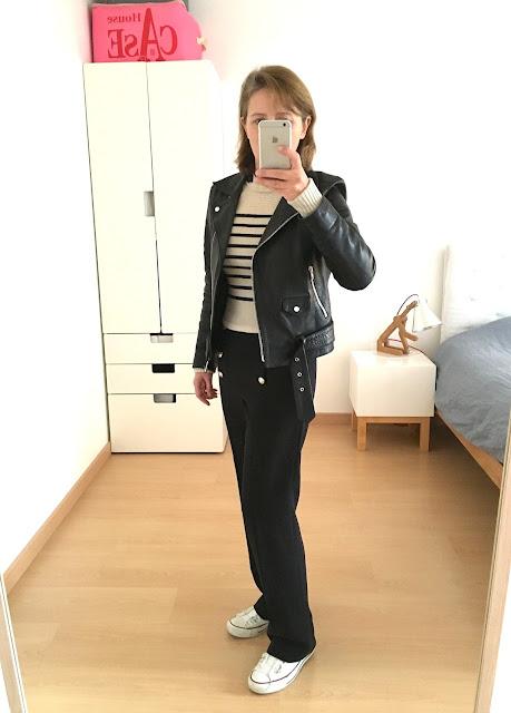 Outfit : perfecto sandro, pantalon à pont, pull isabel marant, converse