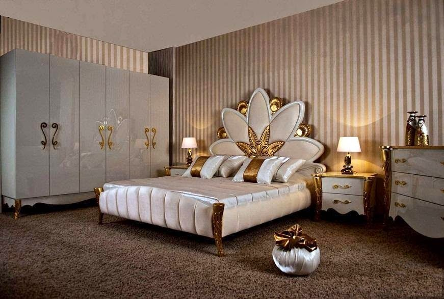 Elegant Bedroom Furniture Set In White And Gold Colors With Beautiful Components Large King Size Bed Decorated Back Restful Mattress