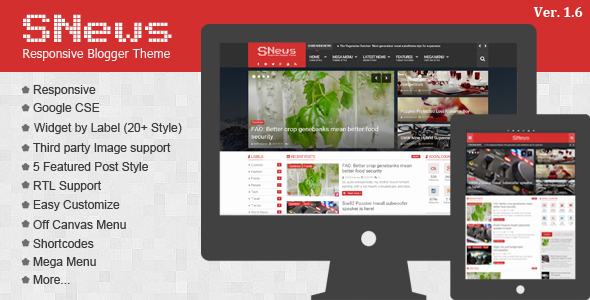 Download SNews V1.5 Premium Blogger Template  Magazine Responsive