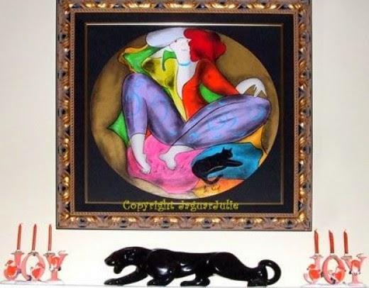 black panther of royal haeger on jaguarjulie's fireplace mantel