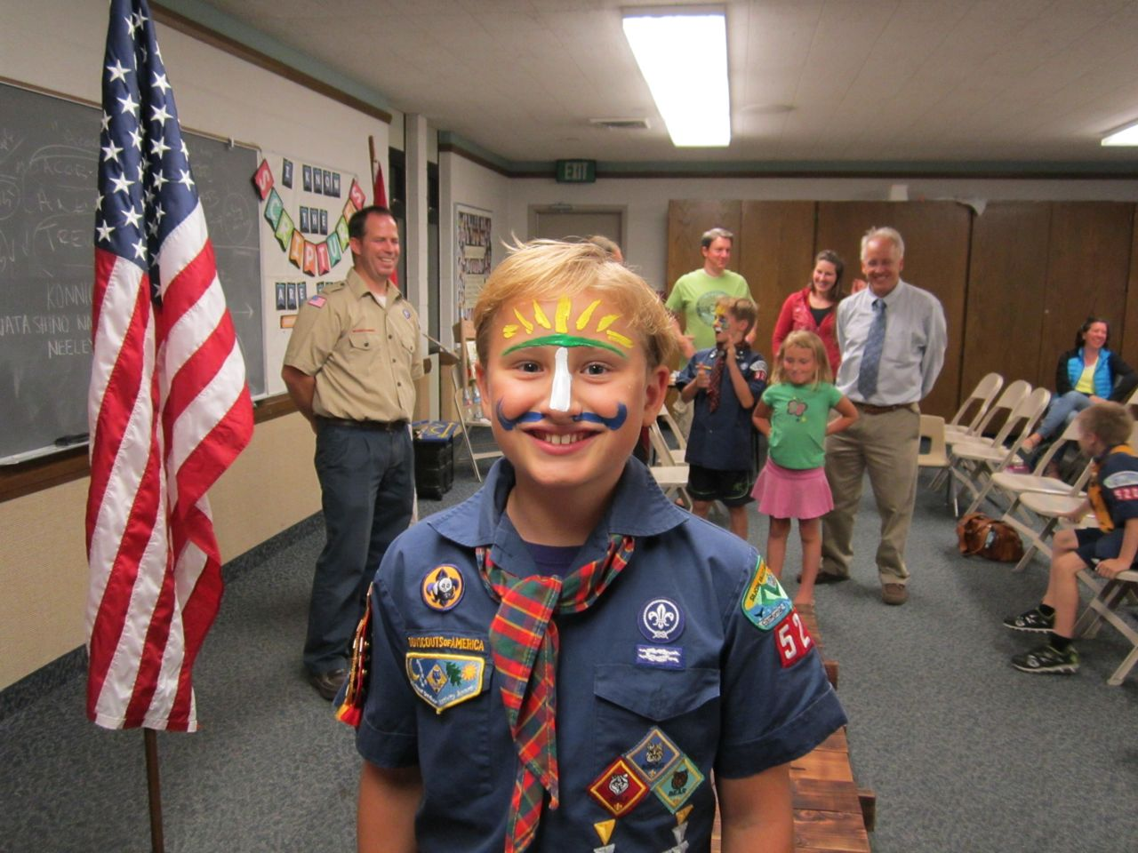 Arrow Of Light Ceremony With Face Paint  Colors