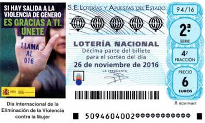 decimos de loteria nacional sabado 26 noviembre de 2016