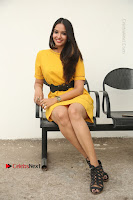Actress Poojitha Stills in Yellow Short Dress at Darshakudu Movie Teaser Launch .COM 0221.JPG