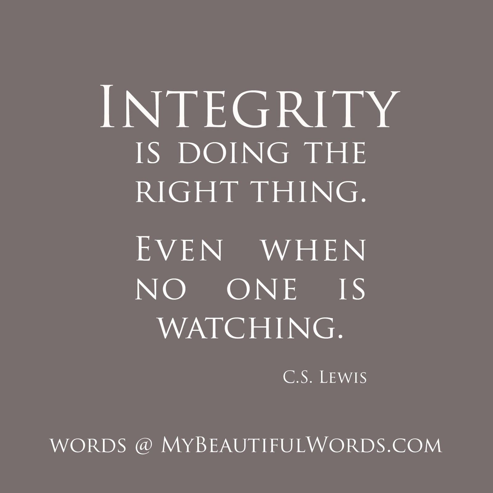 My Beautiful Words Integrity