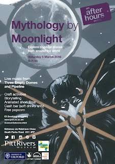 Poster entitled 'Mythology by Moonlight' with picture of a moon and a raven