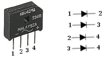 Hình 5 - Mạch chỉnh lưu sử dụng cầu đi ốt 4 trong 1