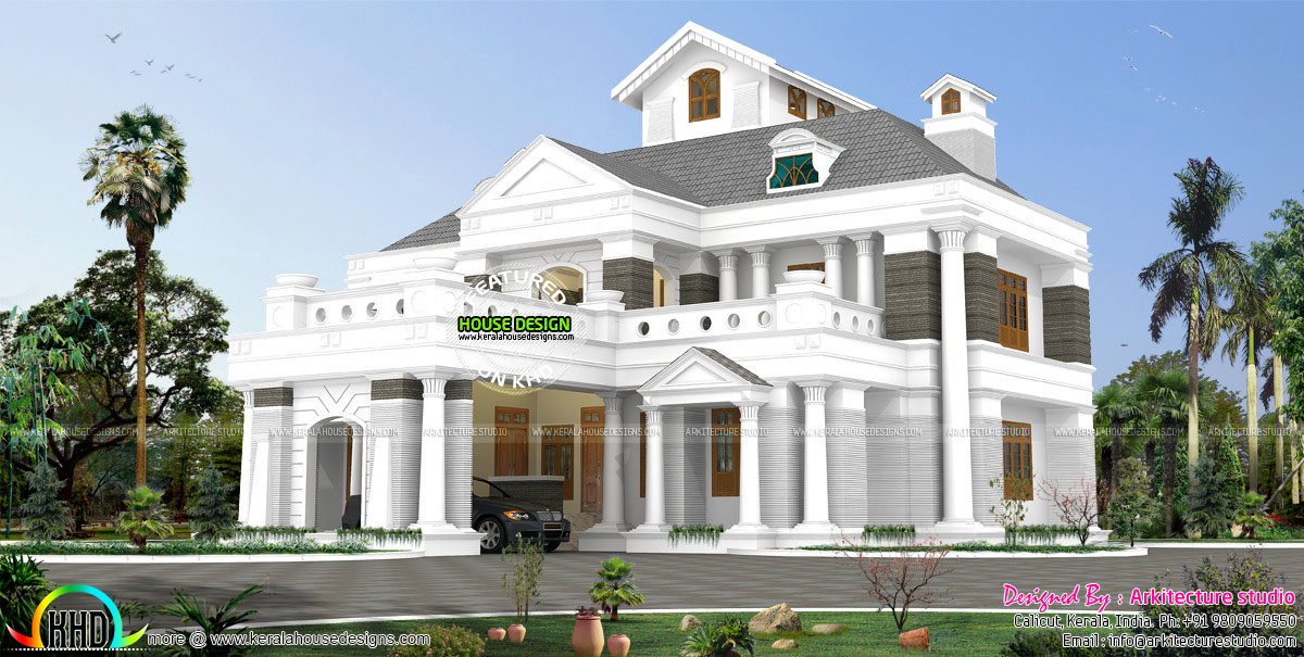 5 bhk colonial home 553 sq m kerala home design and for Colonial style house plans kerala