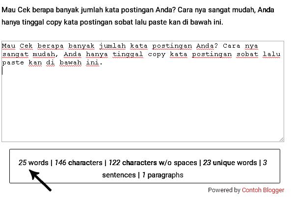 Cara Check Jumlah Kata Pada Postingan