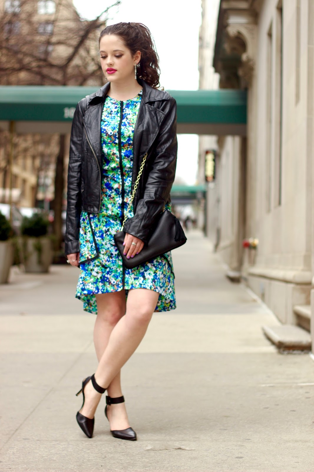 floral dress leather jacket